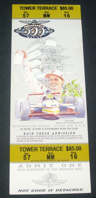 Indianapolis 500 2000 Tower Terrace stub