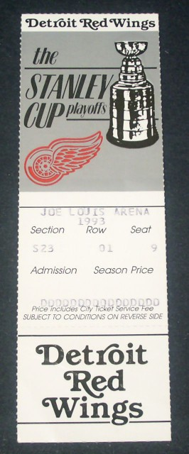 Maple Leafs at Red Wings 1993 Playoffs stub