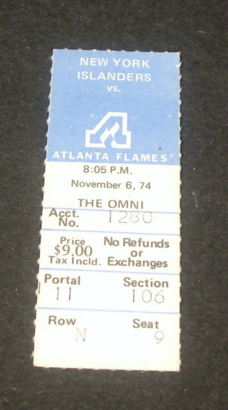 Islanders at Flames in Atlanta 1974 stub