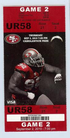 Chargers at 49ers 2010 stub