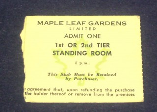 Maple Leafs at the Gardens stub