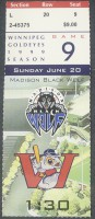 1999 Winnipeg Goldeyes ticket stub vs Madison Black Wolf