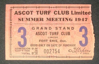 Horse Racing 1947 Ascot Turf Club stub