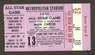 MLB All Star 1965 stub