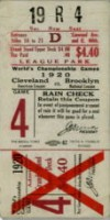 1920 World Series Game 7 Ticket Stub Robins at Indians