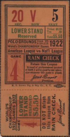 1922 World Series Yankees at Giants Game 4 stub