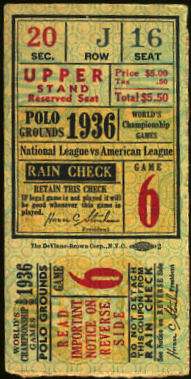 1936 World Series Game 6 Ticket Stub Yankees at Giants