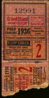 1936 World Series Game 2 Ticket Stub Yankees at Giants