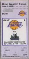 1996 T-Wolves at Lakers Kobe's 1st Game