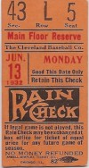 1932 Babe Ruth Home Run ticket stub