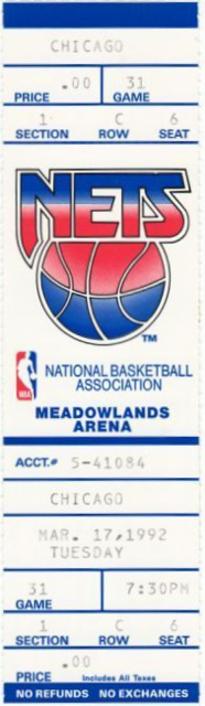 NBA 1992 Bulls at Nets ticket stub stub