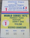 1975 World Series Game 1 ticket stub Reds at Red Sox