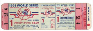 1951 World Series Game 1 Full Ticket Giants at Yankees