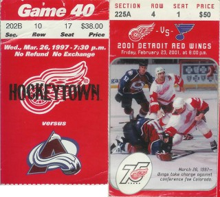 Av's and Blues at Red Wings 1997, 2001  stub