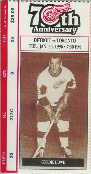 Maple Leafs at Red Wings 1996 stub