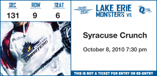 Syracuse Crunch at Lake Erie Monsters 10/8/2010 stub