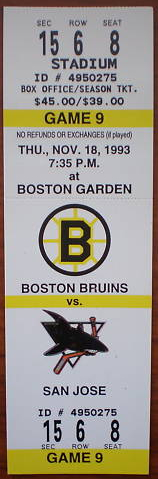 Sharks at Bruins 1993 Ticket Stub stub