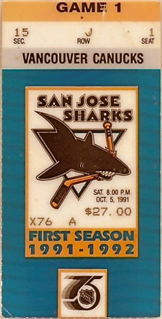 Sharks First Home Game Ticket Stub stub