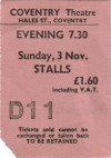 1974 Queen Ticket Stub Coventry
