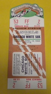 1966 White Sox at Angels Ticket Stub stub