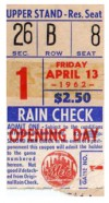 1962 Mets Opening Day Ticket Stub Polo Grounds