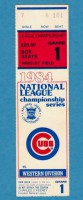 Chicago Cubs 1984 NLCS Game 1