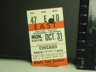 Chicago 1977 stub
