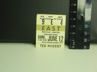 Ted Nugent 1977 Ticket Stub stub