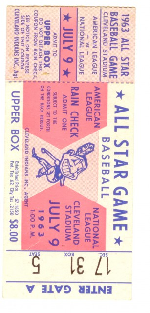 Baseball All Star Game  Cleveland 1963 stub