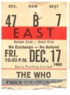 1982 The Who Toronto Ticket Stub