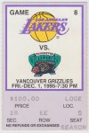 Vancouver Grizzlies at Lakers 1995