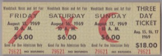 Woodstock 3 Day Ticket Stub 1969 stub
