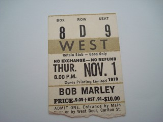 Bob Marley 1979 @ Maple Leaf Gardens stub