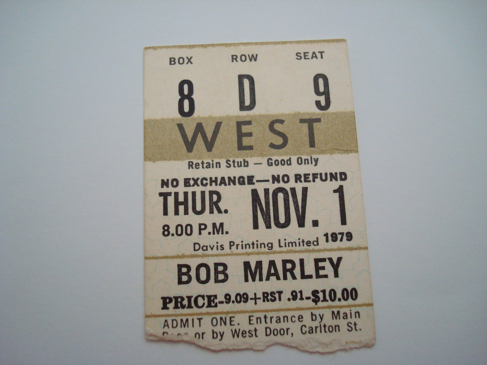 1979 Bob Marley at Maple Leaf Gardens ticket stub