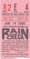 1950 Rochester Red Wings ticket stub