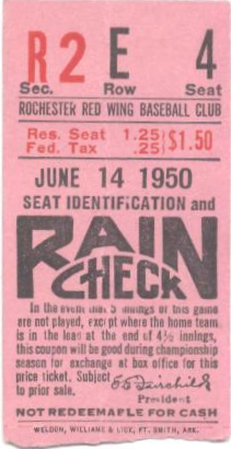 1950 Rochester Red Wings stub