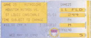 Cardinals at Astros 1990 stub