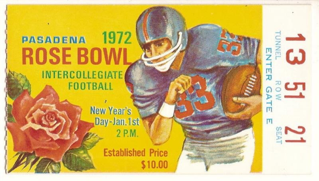 1972 Rose Bowl Stanford Michigan Ticket Stub stub