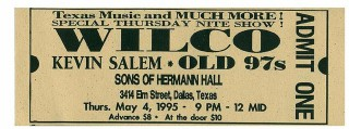 1995 Wilco Sons of Hermann Hall Dallas stub