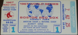 1967 World Series Game 1 ticket stub Cardinals at Red Sox