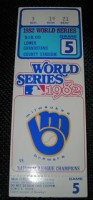 1982 World Series Game 5 ticket stub Cardinals at Brewers