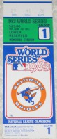 1983 World Series Game 1 ticket stub Phillies at Orioles