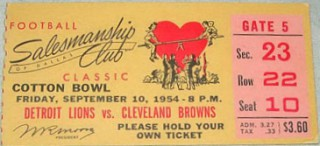1954 Browns vs. Lions stub