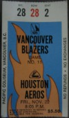 1974 WHA Aeros at Blazers in Vancouver