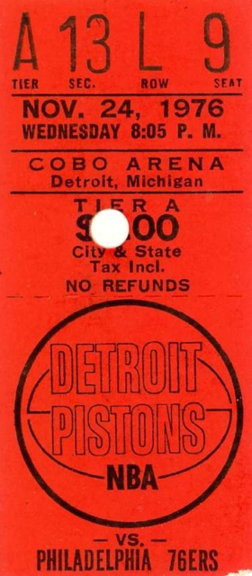 1976 76ers at Pistons stub