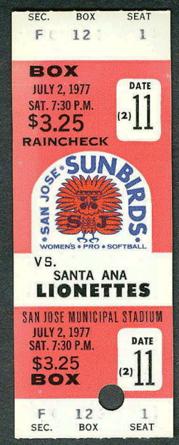 1977 Pro Softball Santa Ana at San Jose stub