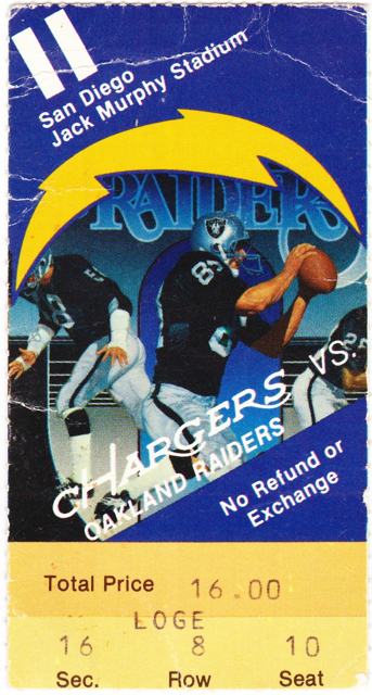 Raiders at Chargers stub