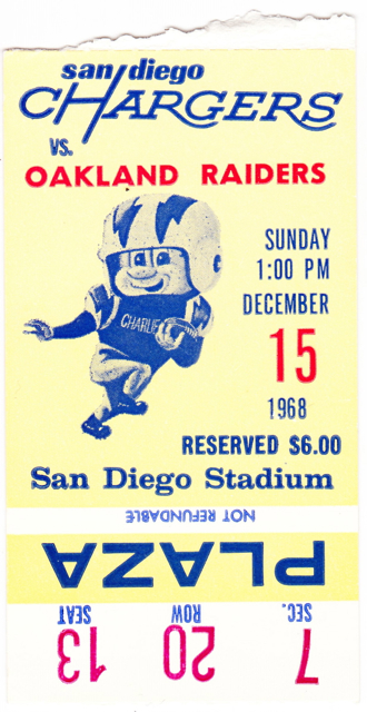 1968 Raiders at Chargers stub