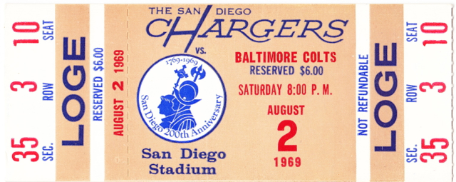 1969 Colts at Chargers stub