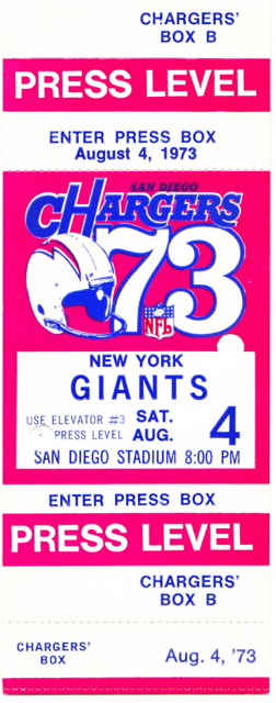 1973 Giants at Chargers stub